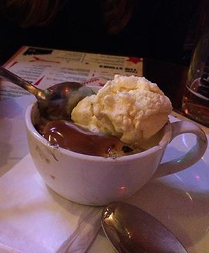 The Harry Belafonte banoffee pie with ice cream. Photograph: Lucie Heath