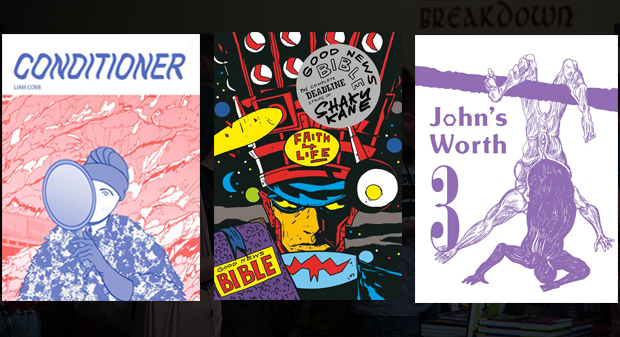 Three of Breakdown Press' new releases for Safari: Liam Cobb's Conditioner, Shaky Kane's Good News Bible and Jonathan Chandler's John's Worth 3.
