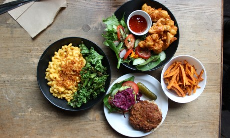 A selection of Café SoVegan's comfort food. Photograph: Jade King