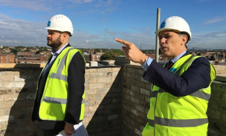 Glanville donned the hi-vis for his visit to an 'affordable development' in Homerton, run by developers Pocket. Photograph: Champollion PR / Pocket