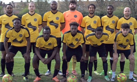 Wick-ed game: Hackney Wick Fc's first XI. Photograph: Bobby Kasanga