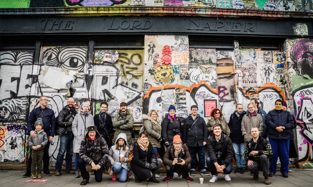 Simon and another tour group - this time on a photowalk in Hackney Wick. Photograph: Frank Da Silva