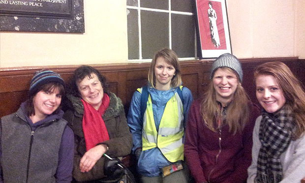 Some happy customers at the tail end of the Mary Wollstonecraft tour. Photograph: Hackney Tours