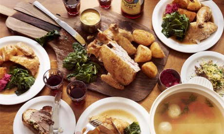 The full Shabbat dinner at Monty's Deli, laid out on the table. Photograph: Fraser Communications