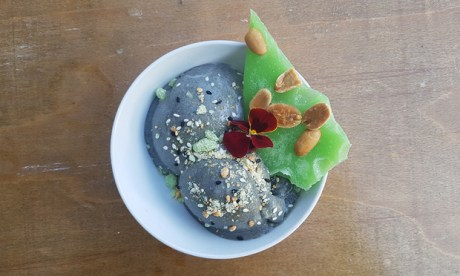 Slate grey and sumptuous: the peanut and sesame ice cream at Pamela
