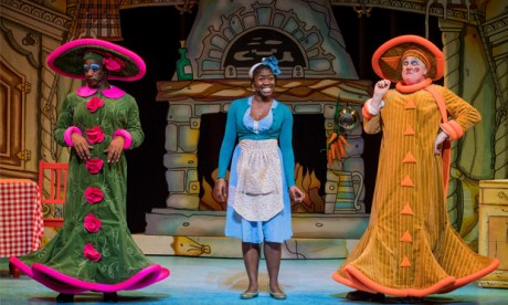 Kat B (left) and Aisha Jawando (middle) in Cinderella, which is at Hackney Empire until 31 December Photograph: Robert Workman