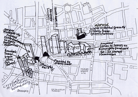 Artist's impression of last year's plan for Bishopsgate Goodsyard and surrounds (Disclaimer: artist's impression only)