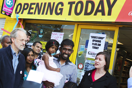 Siva's shop re-opens. Photograph: Tony Plett