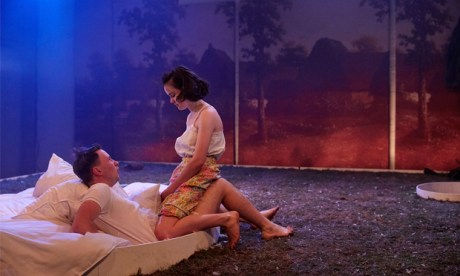 Bradley Hall as Otto & Hannah Millward as Elodie in This Beautiful Future. Photograph: Richard Lakos