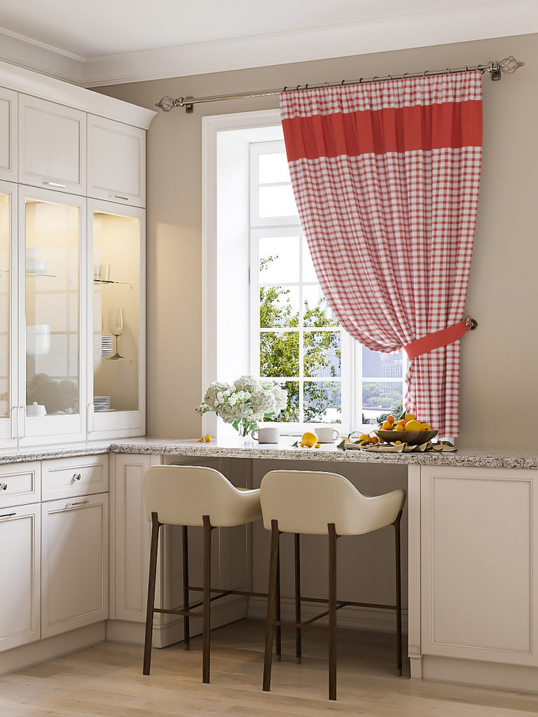 red check plaid kitchen curtains ideas