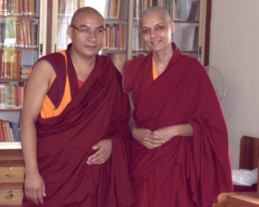 Barkha Madan Bald with Dalai Lama
