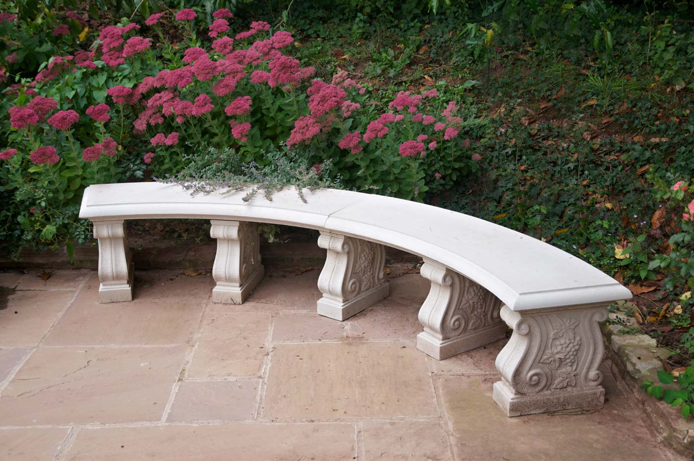 Double Curved Stone Garden Bench Seat 54 Inch Haddonstone