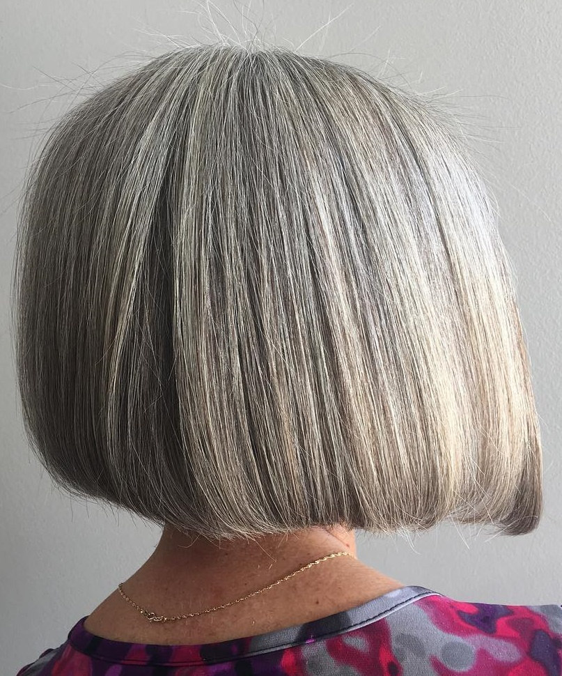 Blunt Gray Bob for Thick Hair