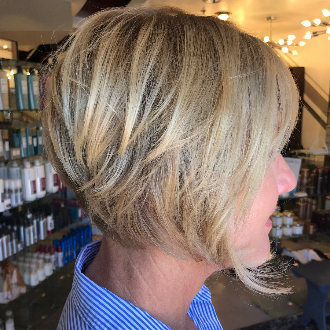 60+ Layered Jaw-Length Bob for Fine Hair