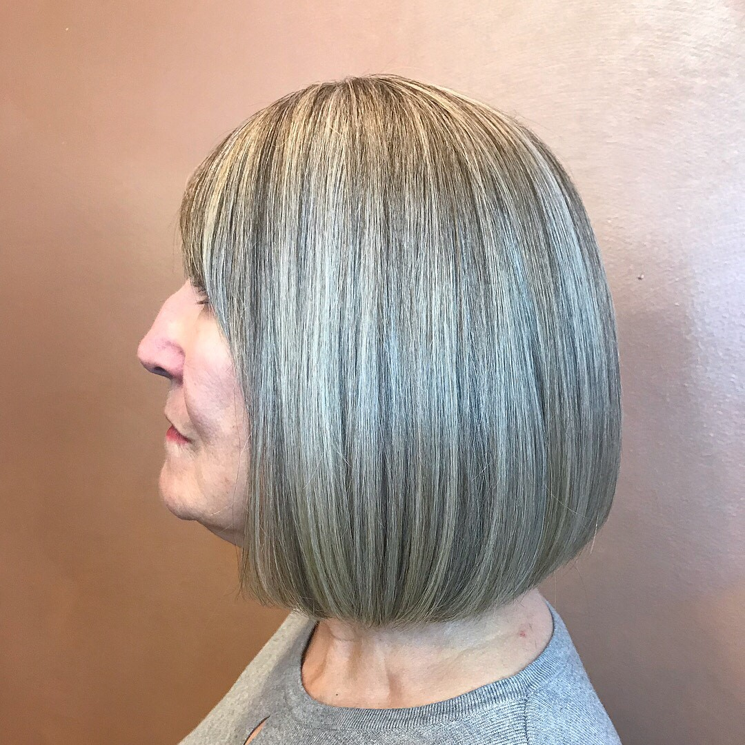 Over 60 Medium Blunt Gray Balayage Bob with Bangs