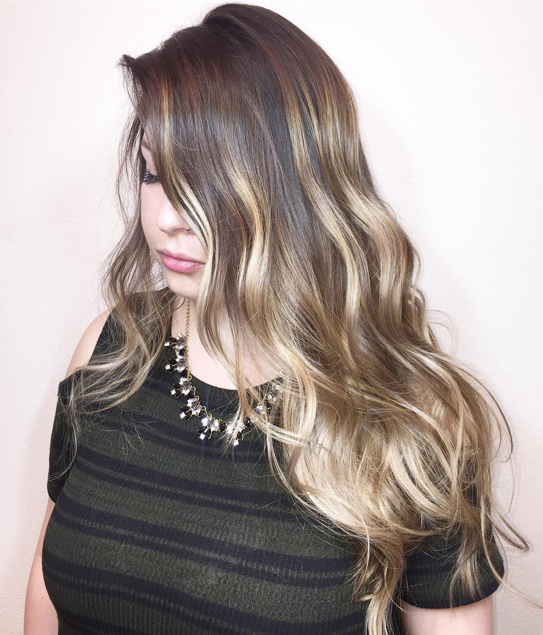Long Thin Wavy Hair with Blonde Balayage