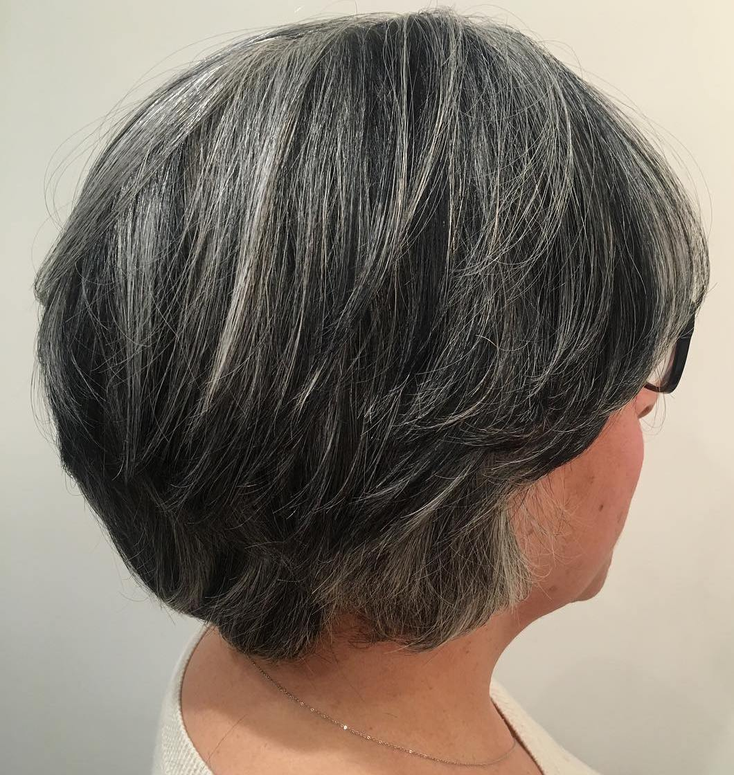 Short Layered Black and Gray Hairstyle