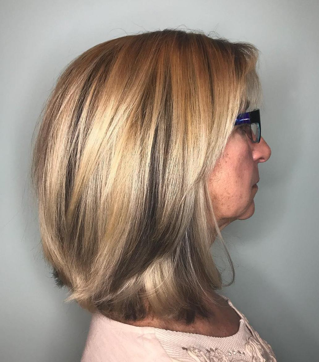 Honey Blonde Long Bob with Lowlights and Bangs