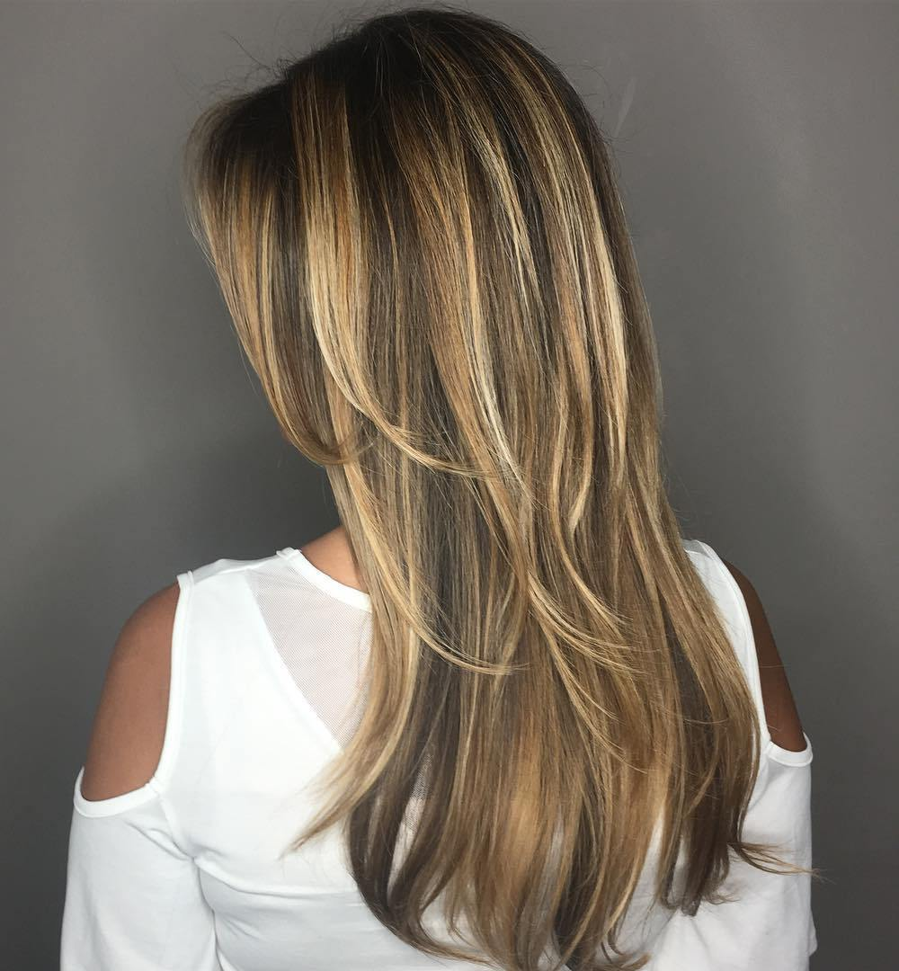 Long Layered Brown Thin Hair Style with Blonde Highlights