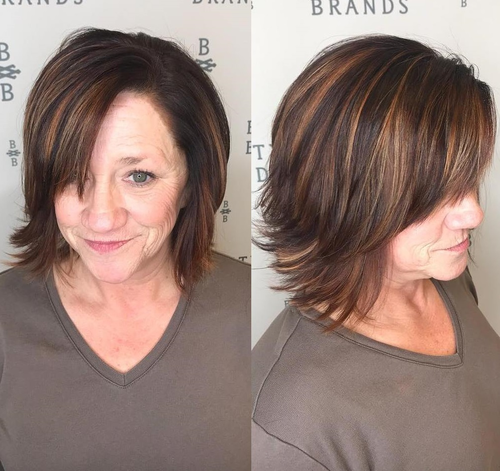 Feathered Highlighted Brown Bob with Side Fringe