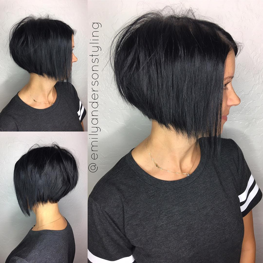 Inverted Raven Black Razored Bob for Fine Hair