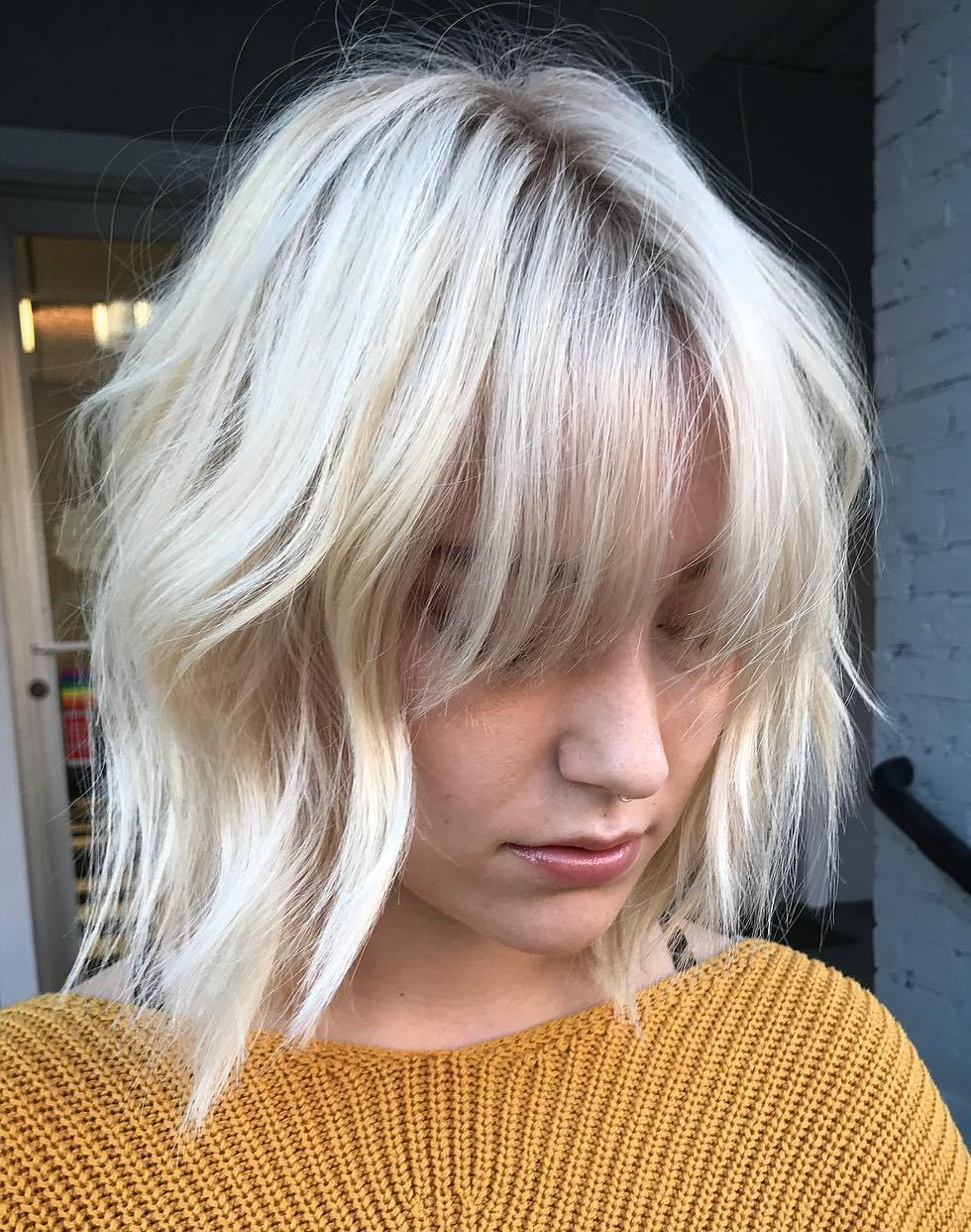 Shaggy White Blonde Bob with Bangs for Fine Hair