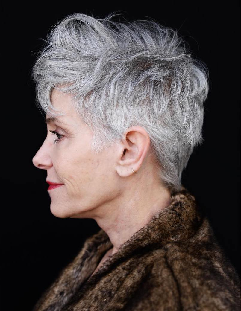 Over 50 Textured Gray Pixie