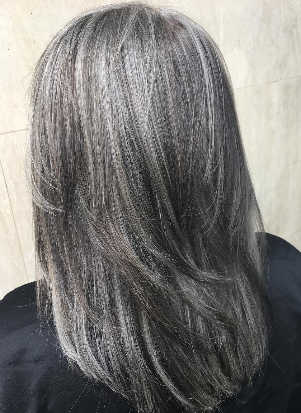 Medium Layered Dark Gray Haircut