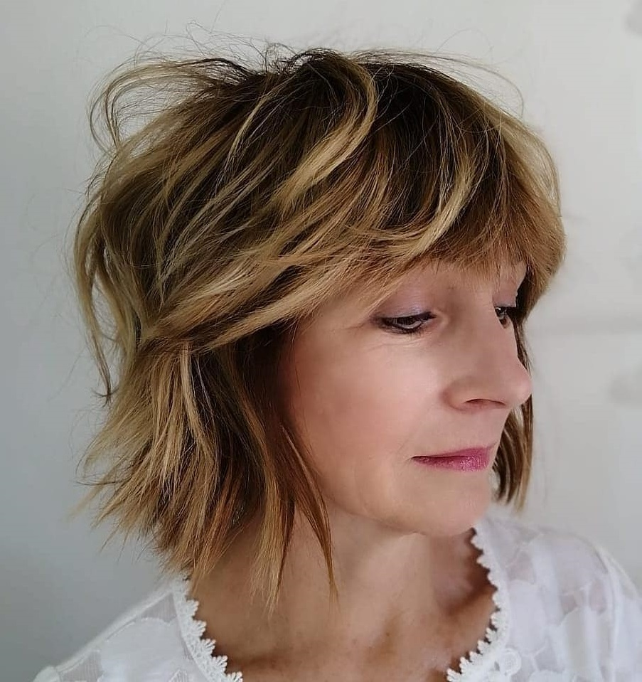 Over 50 Shaggy Bob with Highlights