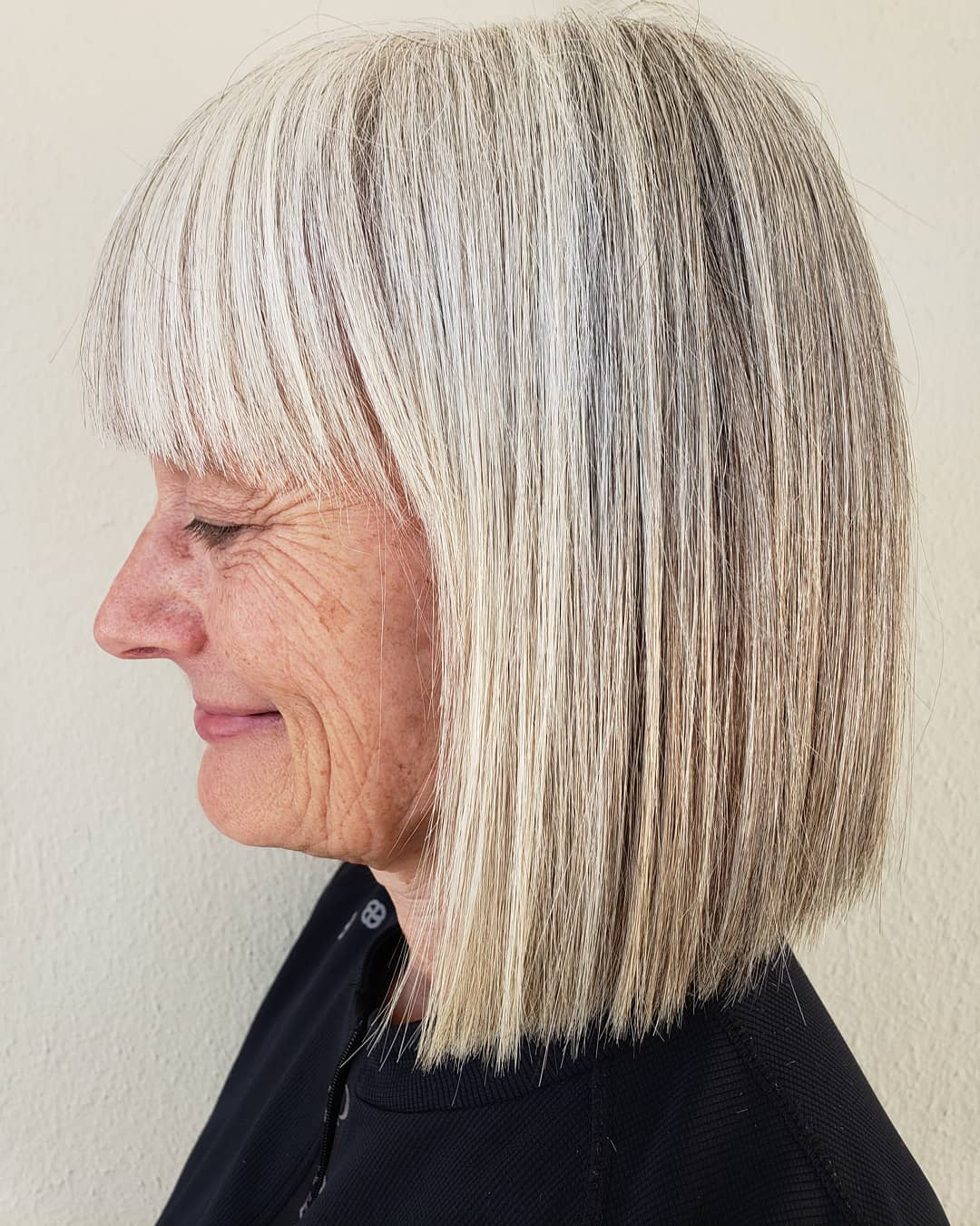 60+ Poker Straight Blunt Gray Bob with Bangs
