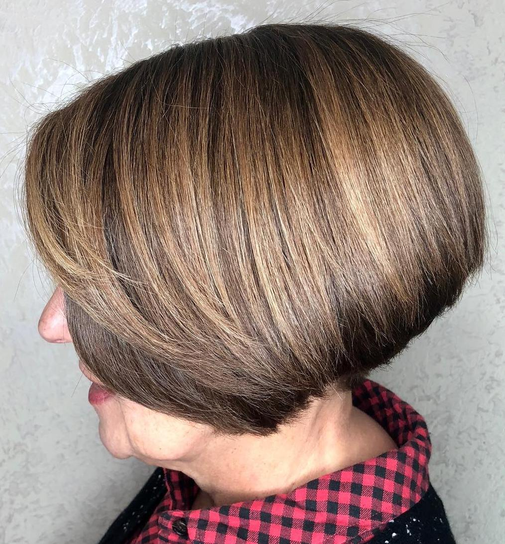 60 Plus Short Brown Stacked Bob for Straight Thick Hair