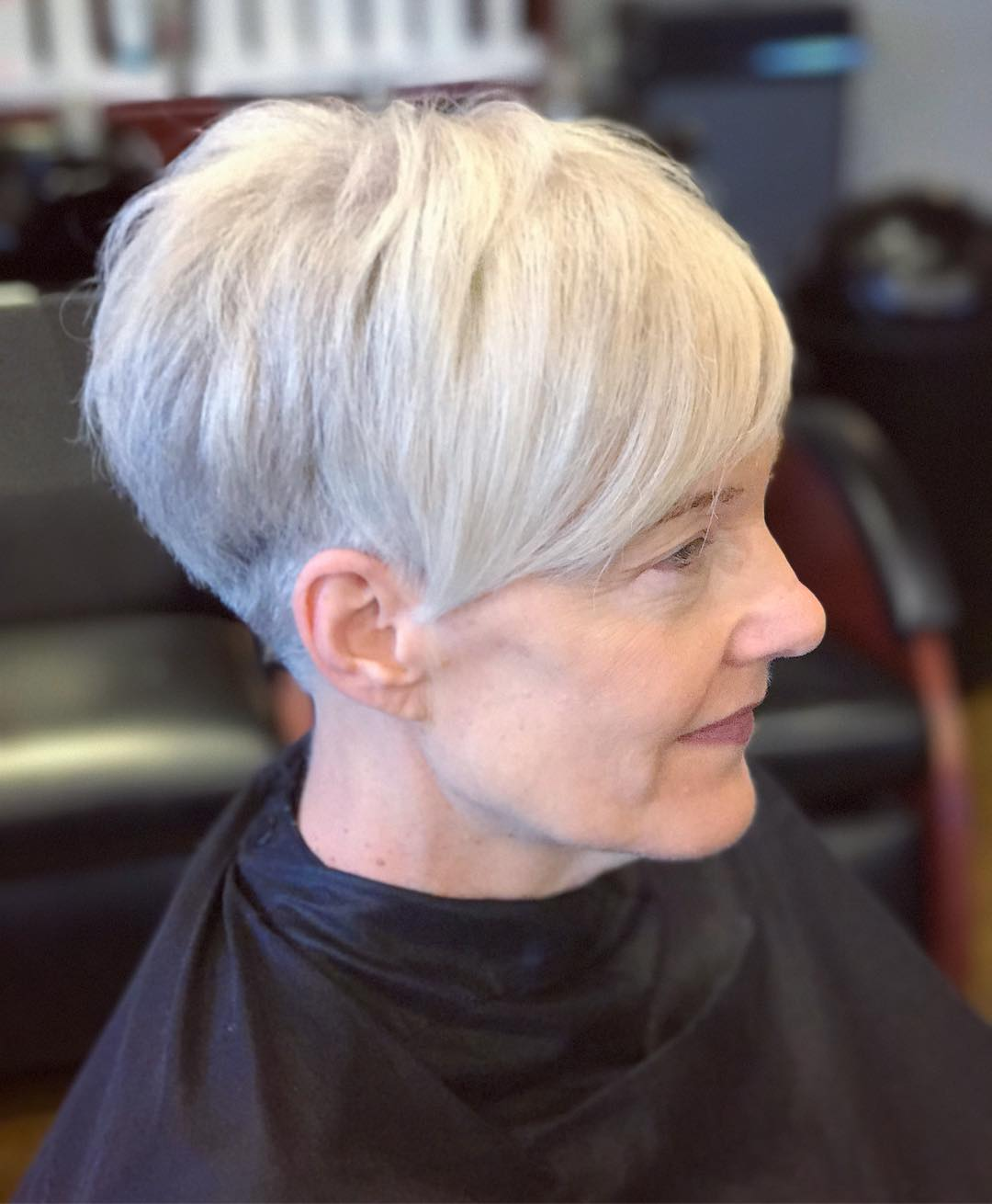 White Gray Pixie with Long Bangs for Older Women
