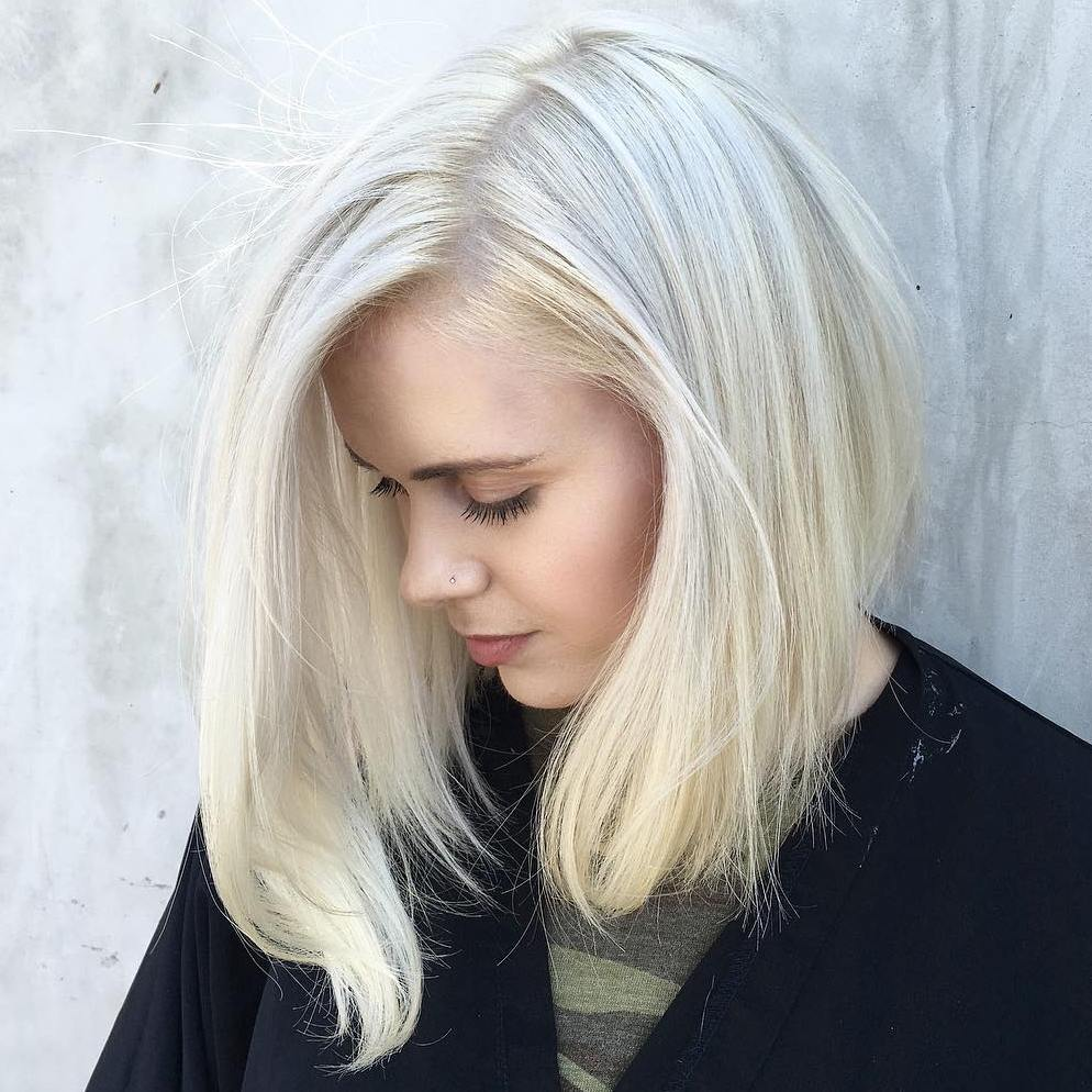 Asymmetrical Angled Blonde Long Bob