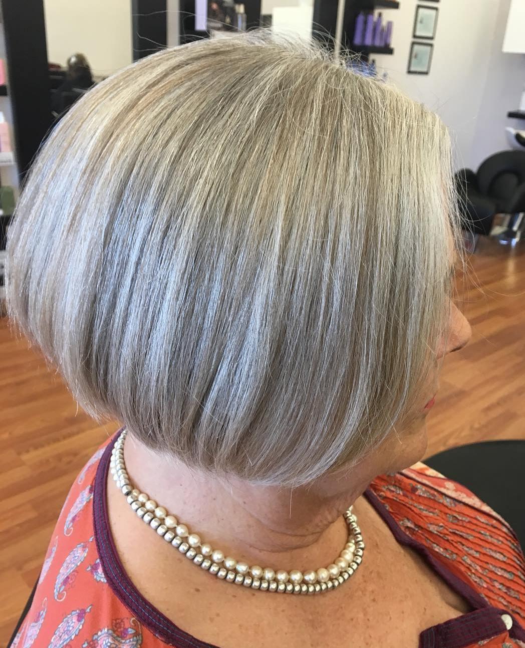 Short Sleek Gray Blonde Bob with Highlights