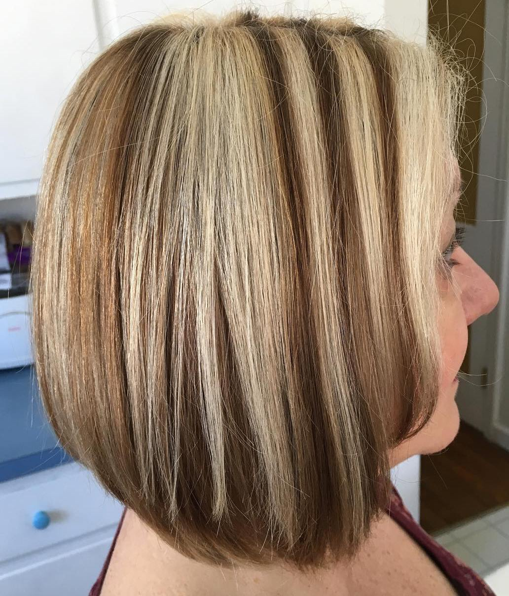 Brown Bob with Blonde Chunky Highlights