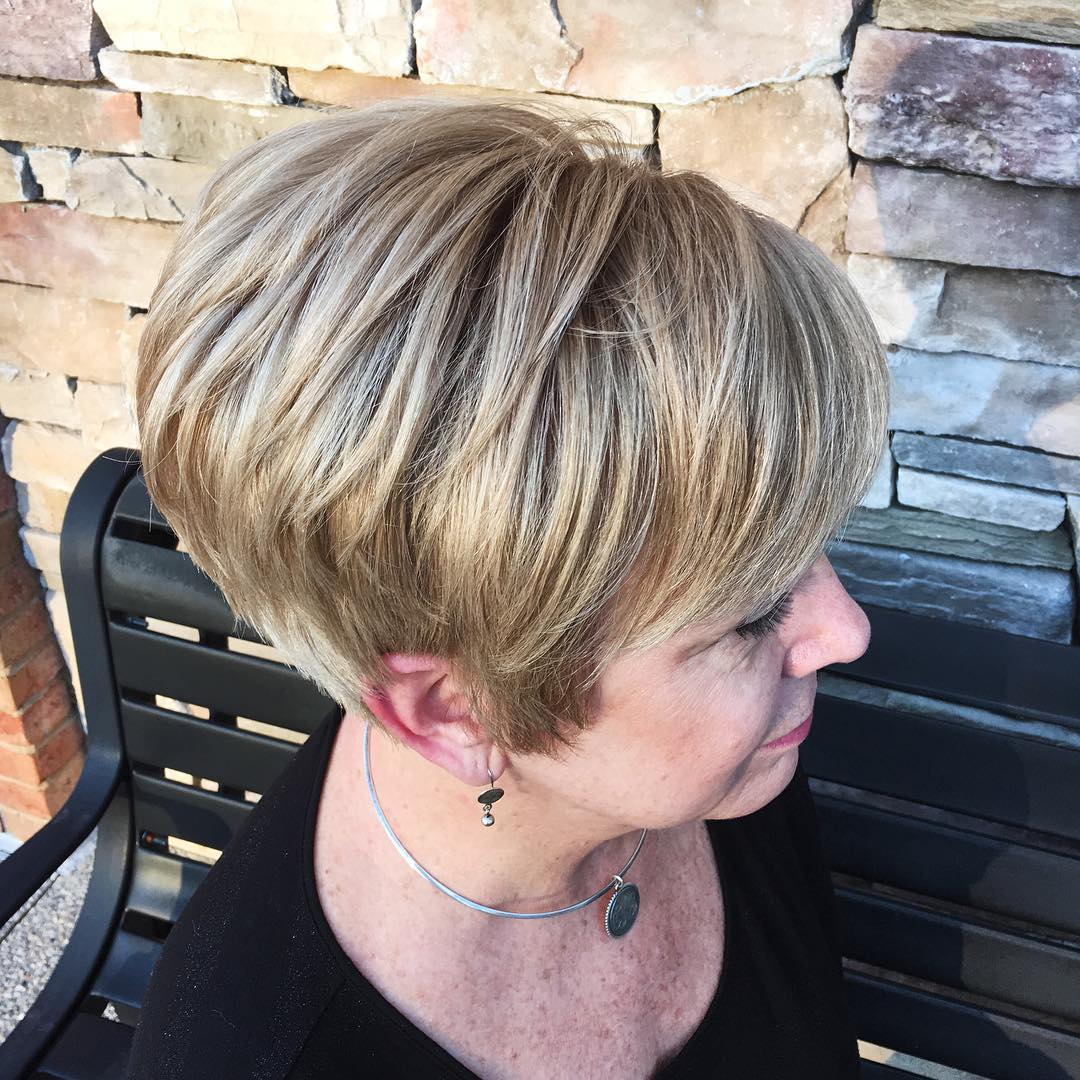 50+ Brown and Blonde Side Parted Voluminous Pixie