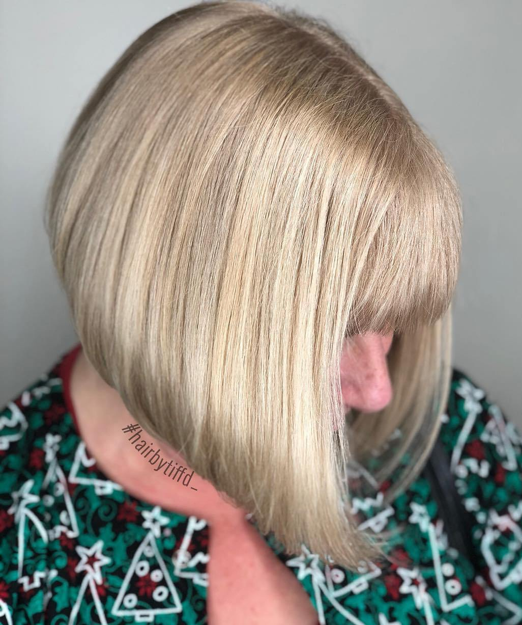 Over 50 Straight Angled Blonde Bob with Bangs