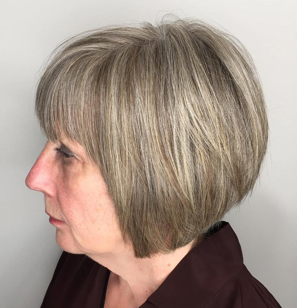 Short Bob with Bangs for Older Women