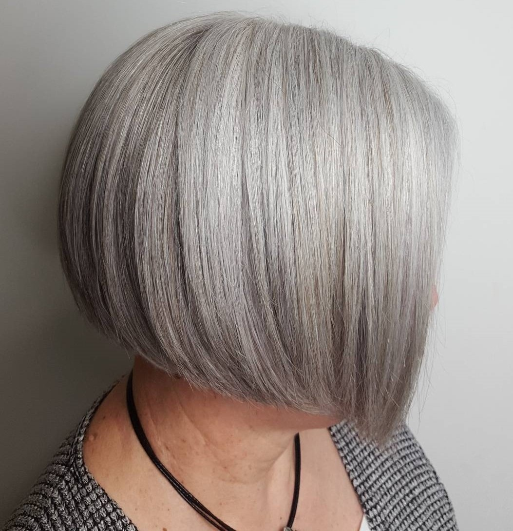 Sleek Gray Jaw-Length Bob
