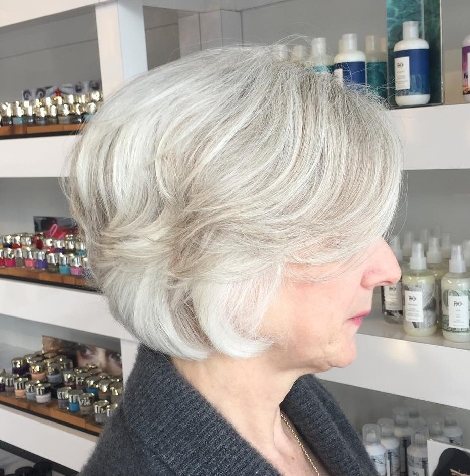 Shorter Gray Hairstyle for 60 Year Old Women