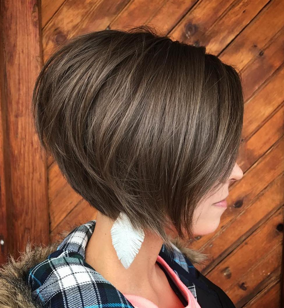 Short Stacked Brown Bob for Finer Hair