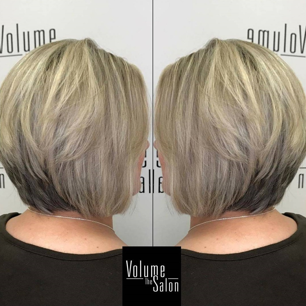 Layered Stacked Ash Blonde Bob Darker at the Nape