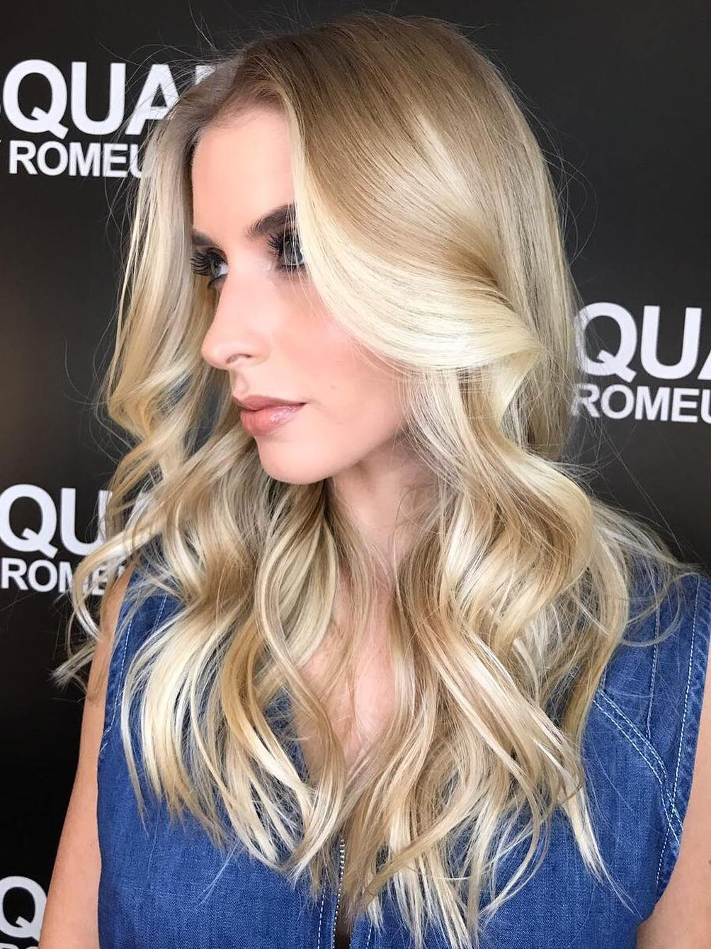 Long Blonde Curled Hairstyle