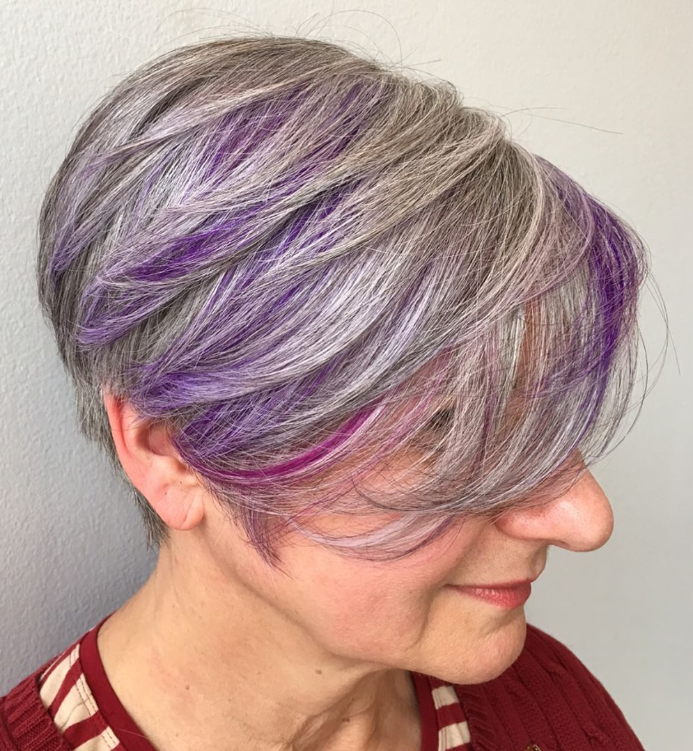 Gray Pixie Bob with Bright Lavender Highlights