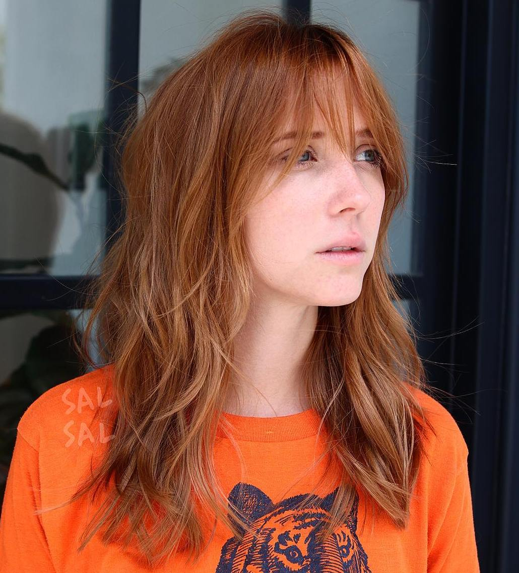 Medium-to-Long Red Shag with Bangs