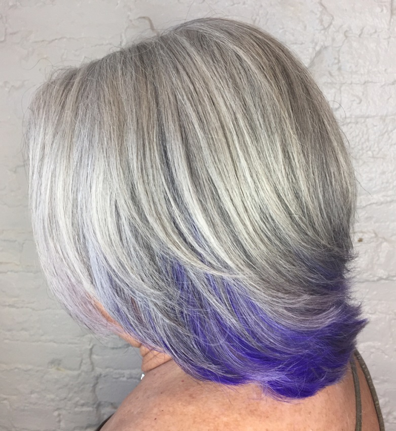 Gray Medium Bob with Purple-Blue Peek-A-Boo Bottom Layer