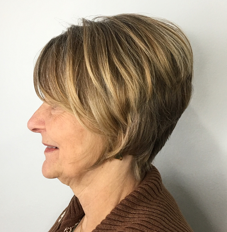 Short Layered Haircut with Tapered Nape and Full Crown