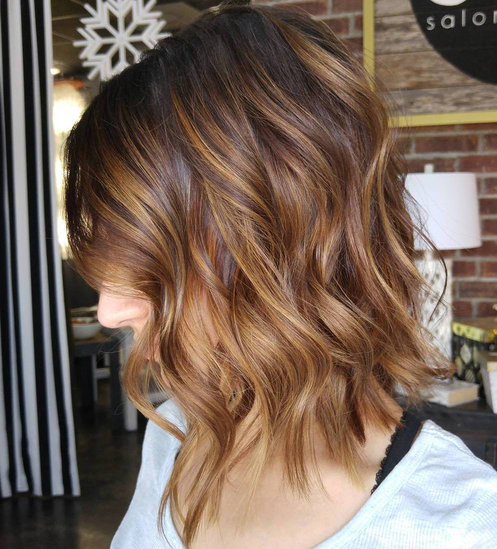 Brown Wavy Thin Bob with Copper Balayage