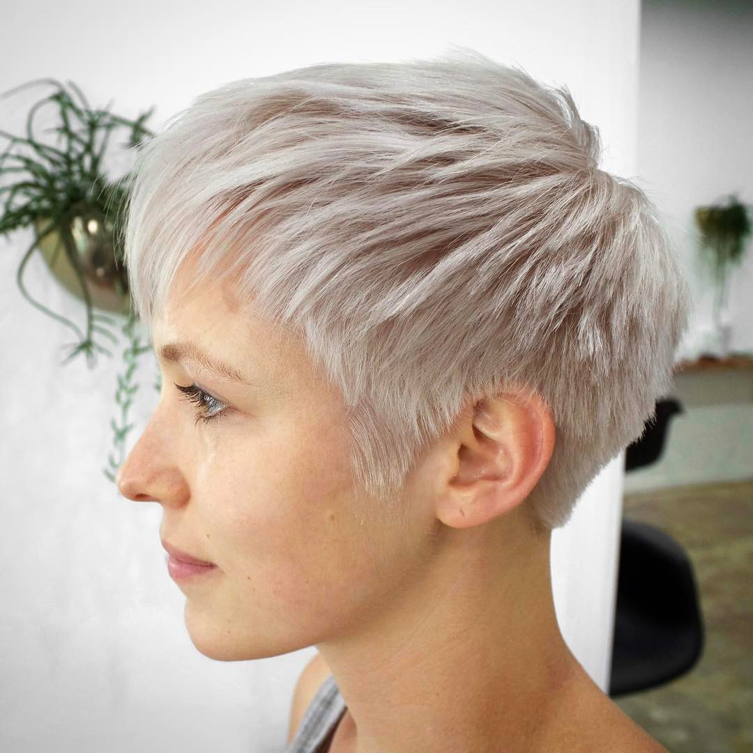 Extremely Short White Blonde Fine Hair Cut