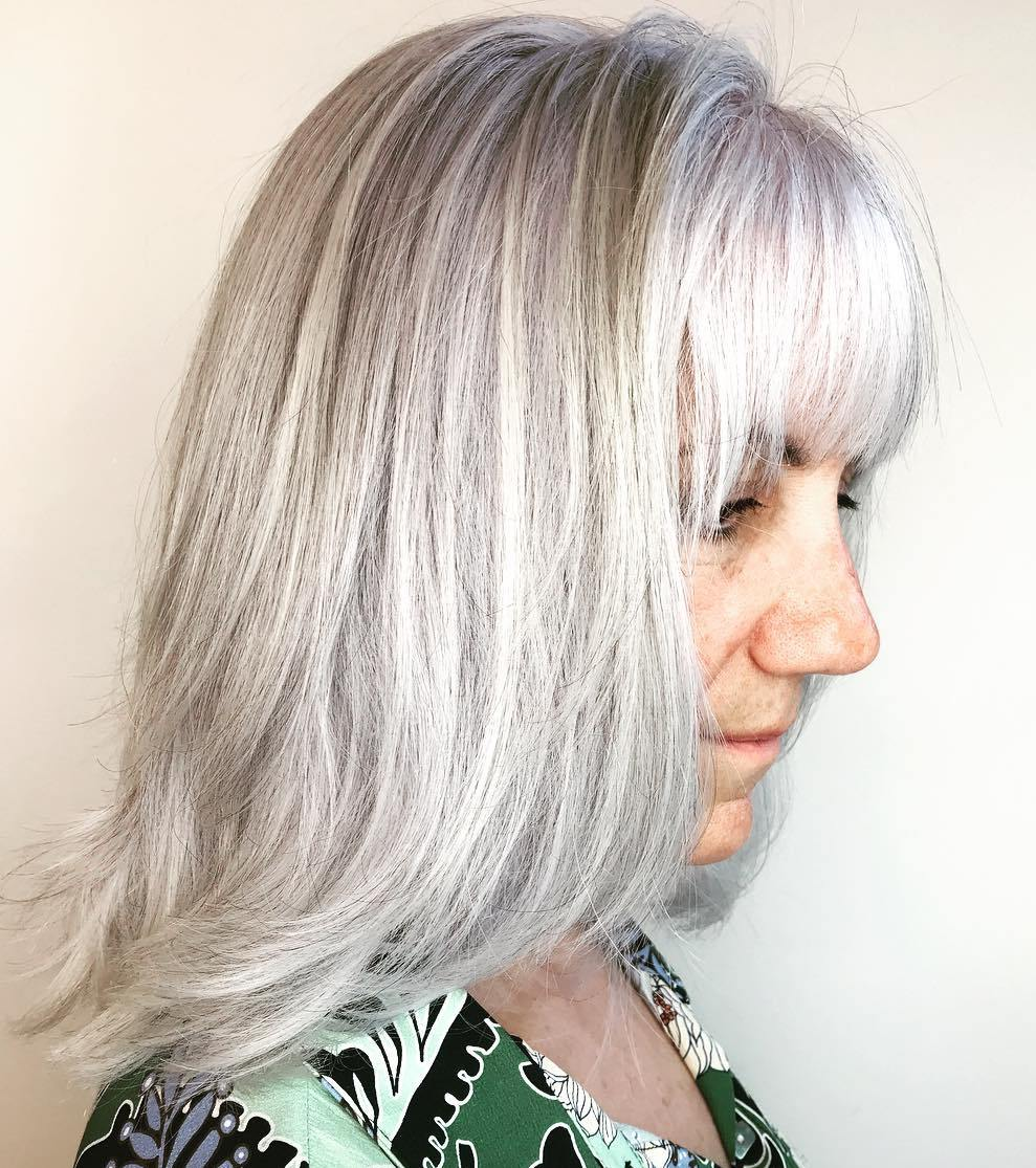 Shoulder Length Light Gray Hairstyle over 50